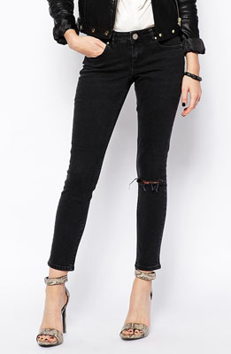 7bf9a7f522c ASOS Whitby Low Rise Skinny Ankle Grazer Jeans in Washed Black with Ripped  Knee ($45.48)