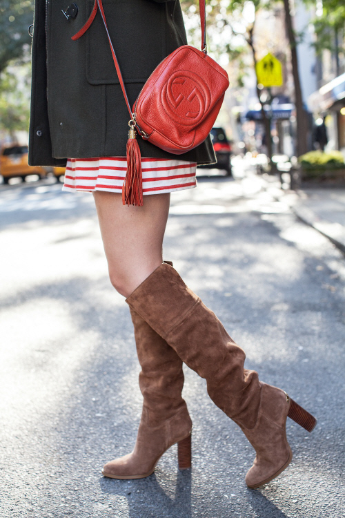 tall brown boots with a dress 2
