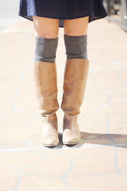 tall brown boots with a dress