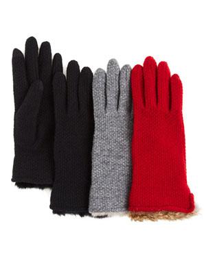 Echo Rabbit Fur Cuff Textured Tech Gloves