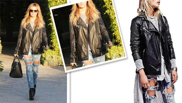 f8d85beb270d63 Celebrity · Ashley Tisdale s Studded Leather Jacket ...