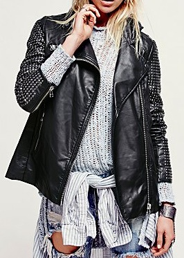free people studded leather jacket
