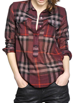 293313eae793 BURBERRY BRIT CHECKED COTTON VOILE SHIRT ( 190