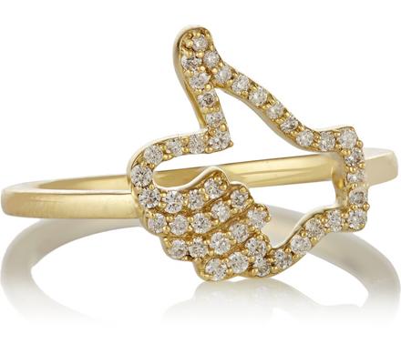 Khai Khai Thumbs Up 18-karat gold diamond ring