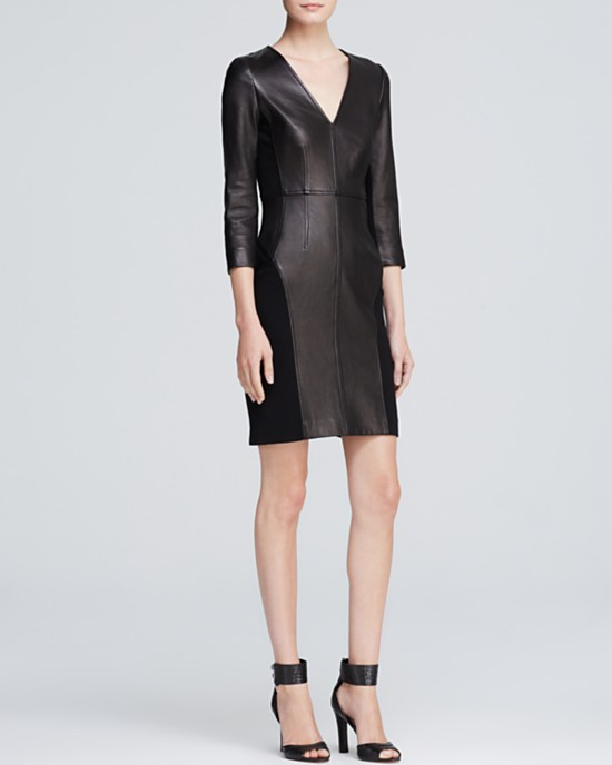 DVF Leather Sheath Dress