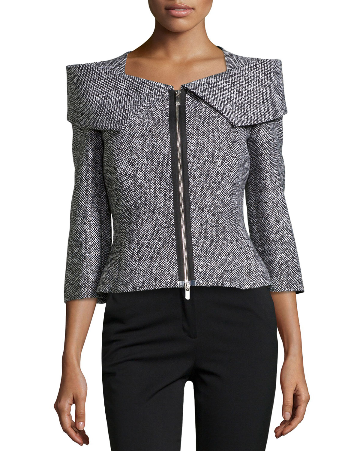 Michael Kors Zip Front Tweed Jacket