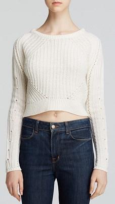 aqua crop sweater