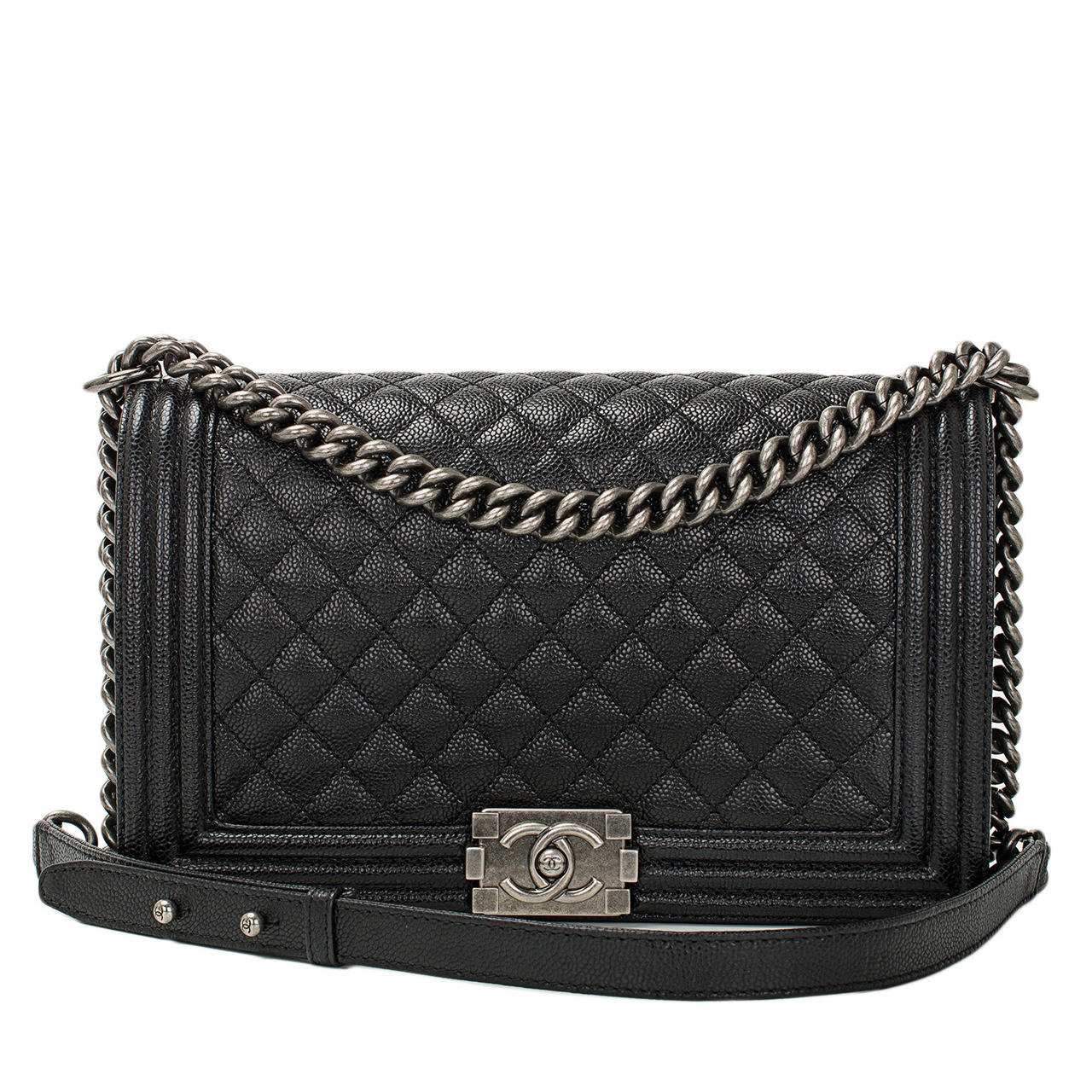Chanel Black Caviar New Medium Boy Bag