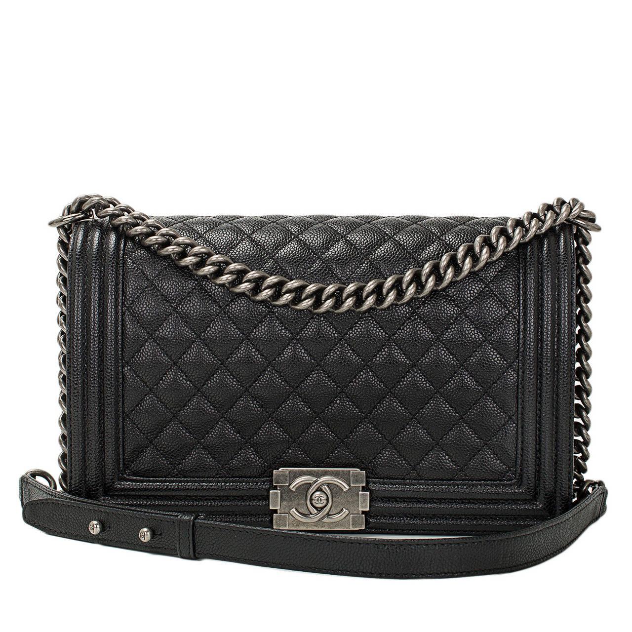 Chanel Black Caviar New Medium Boy Bag