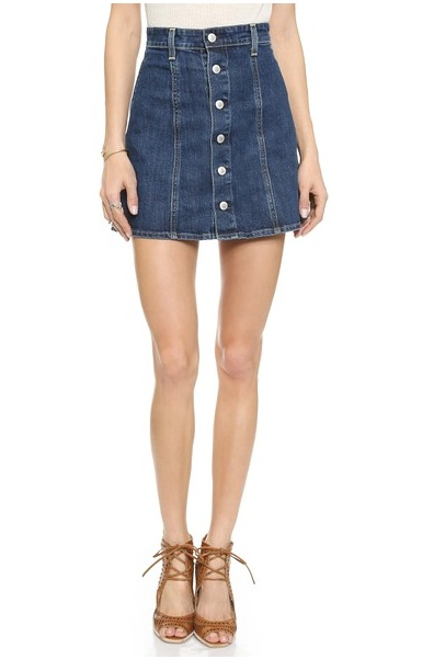Alexa Chung x AG Kety Skirt | Esprit A Line Denim Button Skirt