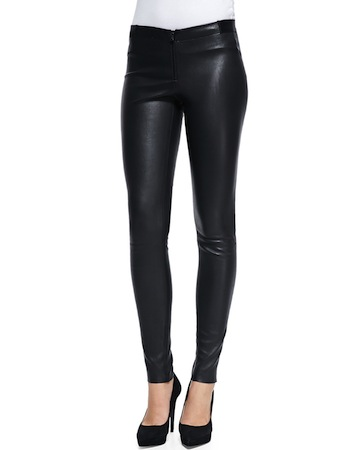 dc24e436119bd9 Her Alice + Olivia Lamb Leather Leggings ($798) have a zip front and super  skinny leg. Pair them with pumps or black booties (like Margot did) and  your ...