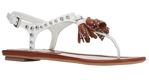 prada brown leather - Reese Witherspoon Sandals | Prada Studded Tassel T-Strap Sandals