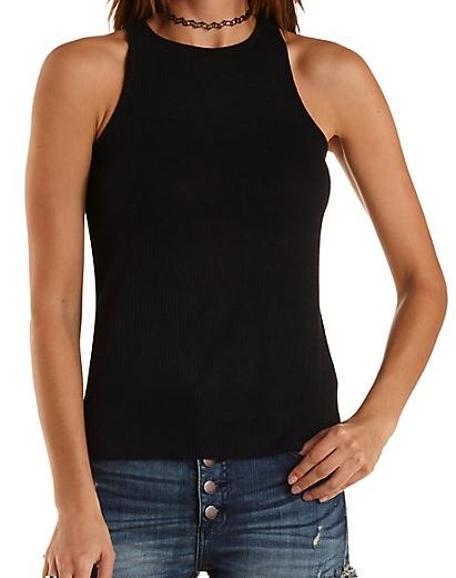 276636c9395057 Charlotte Russe Ribbed Racer Front Tank Top ( 15.99)