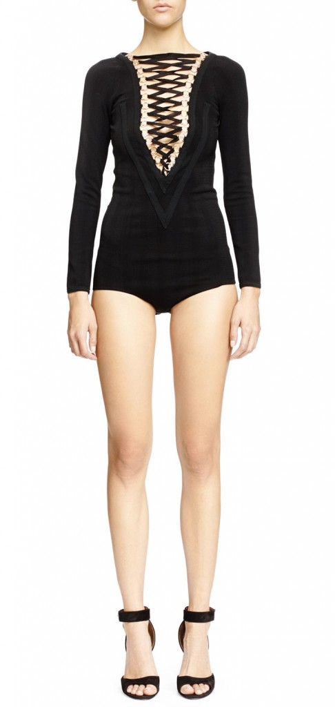 Givenchy V Seamed Lace Up Bodysuit