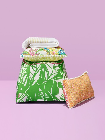 8eecf7ef3d8c99 Outdoor Blanket in White ($30) Reversible Pillow in Nosie Posey and  Boardwalk Café ($25) Pouf in Boom Boom ($45) Reversible Pillow in Giraffing  Me Crazy and ...