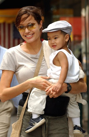 Angelina Jolie with her first child, Maddox