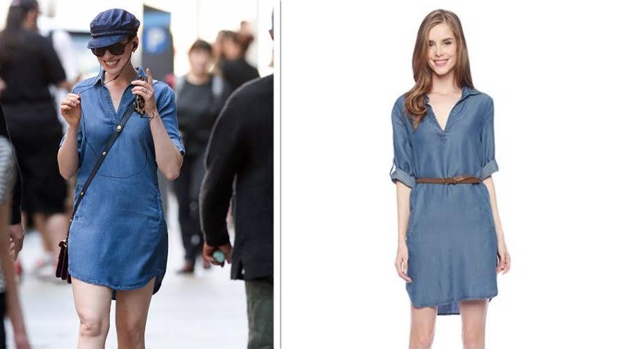 52d9d664ec Anne Hathaway s Chambray Dress Has