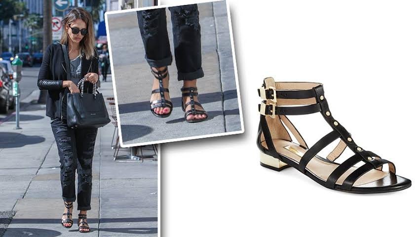 9f3b315f403 Jessica Alba s Black Gladiator Sandals Are On Clearance For 50% Off