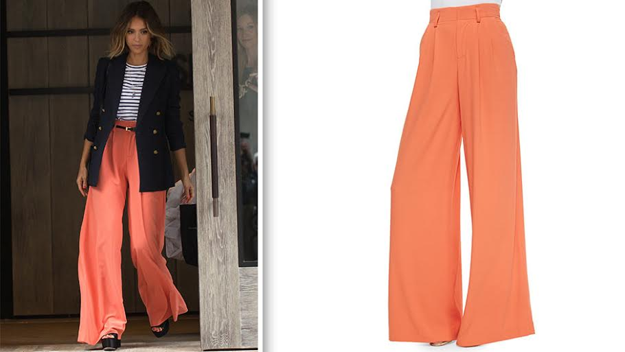 Jessica Alba Orange Pants | Alice   Olivia PLeated Wide Leg Trousers