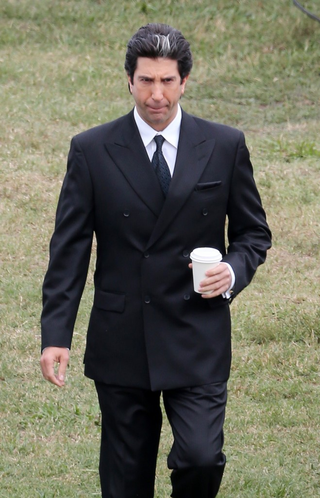 David Schwimmer filming American Crime Story playing the part of Robert Kardashian in Los Angeles