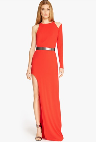 Kendall Jenner Red Dress | Halston Heritage Asymmetrical Sleeve ...