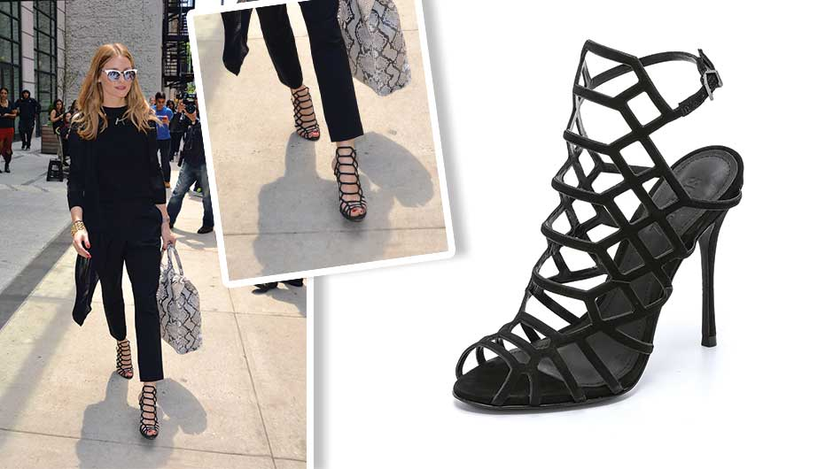 7943fc7479 Olivia Palermo kept her cool while exiting her NYC hotel, wearing an  all-black ensemble that featured these sexy, strappy Schutz Juliana Caged  Sandals ...