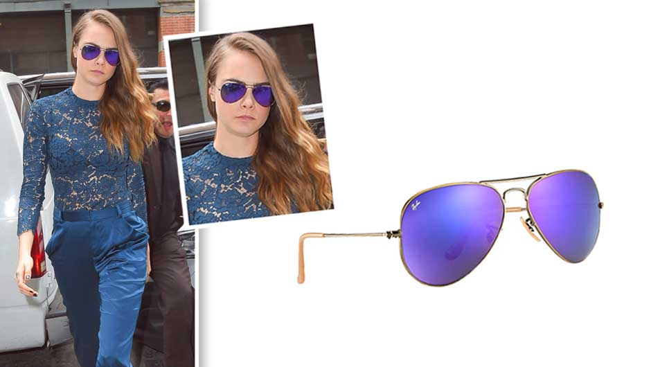 Cara Delevingne Purple Sunglasses Ray Ban Aviator Flash