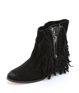 Cynthia Vincent Nibble Suede Fringe Booties