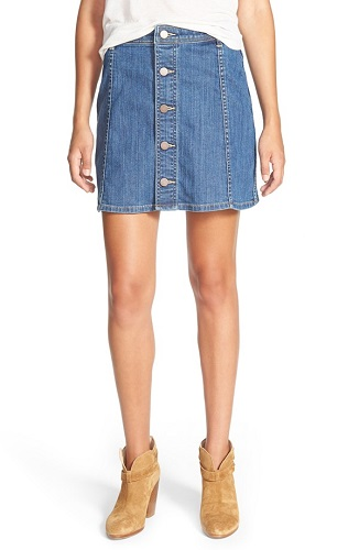 hinge denim skirt