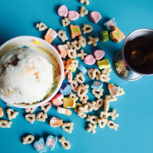 Whiskey and lucky charms ice cream.