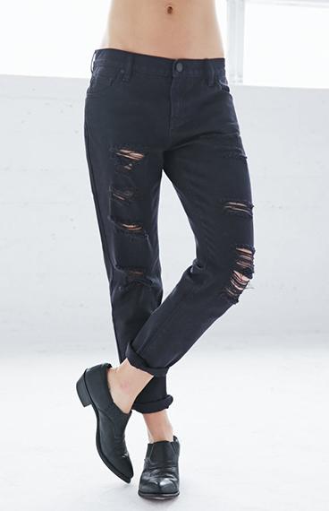 Black Boyfriend Jeans | Black Ripped Boyfriend Jeans