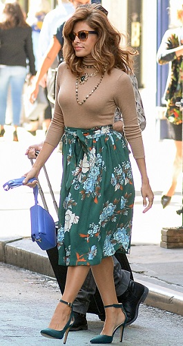 INF - Eva Mendes Steps Out In Two Colorful Floral Prints