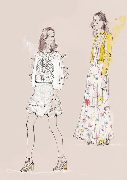 Rebecca Taylor Spring 2016 Inspiration Sketch
