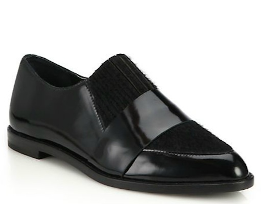 Loeffler Randall Rosa Felt Paneled Patent Leather Loafers