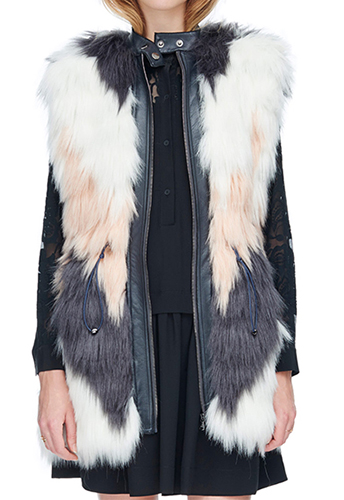 Patch Faux Fur Vest