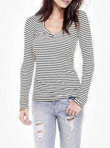 Striped One Eleven Long Sleeve Ribbed Tee