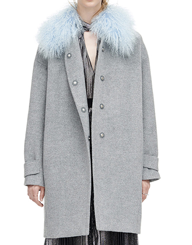 Wool Shearling Cocoon Winter Coat