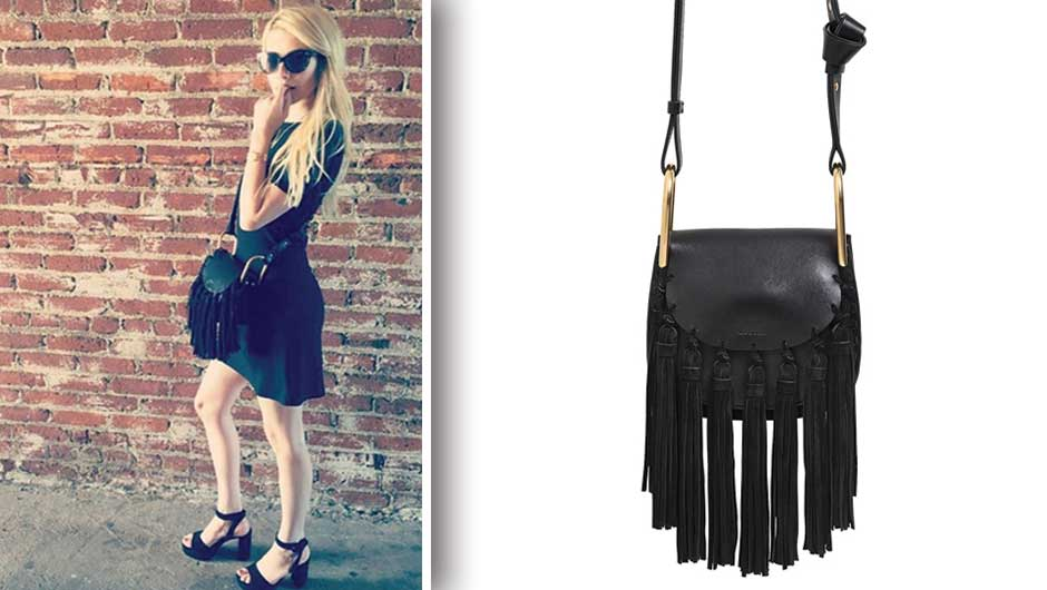 Emma Roberts Fringe Bag | Chloe Mini Hudson Leather Bag with Suede ...