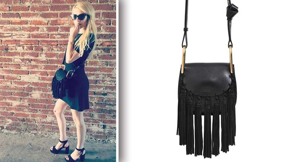 52d96d0da4 Emma Roberts Fringe Bag | Chloe Mini Hudson Leather Bag with Suede ...