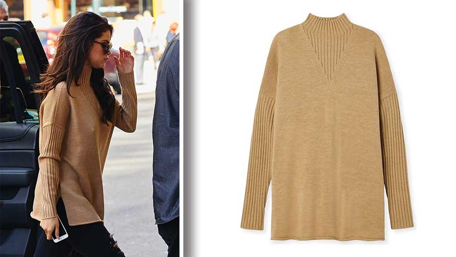 Selena Gomez Tan Sweater | Tory Burch Merino Oversized Mockneck Tunic