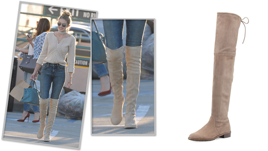 3102c40abad Looking for a Thanksgiving Black Friday splurge  Go with Gigi Hadid s  insanely amazing Stuart Weitzman Lowland Over-the-Knee Boots ( 798).