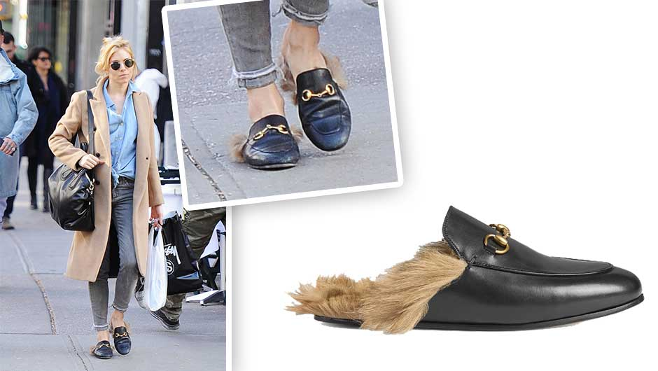 637a88a8505 Sienna Miller s Fur Slippers Are Nothing Short Of Amazing