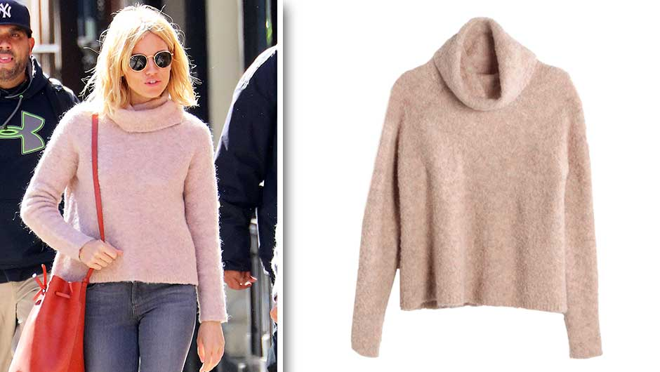 Sienna Miller Pink Sweater | Madewell Roundtrip Turtleneck Sweater