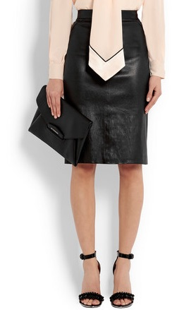 Givenchy Pencil skirt in black leather ($1,857)