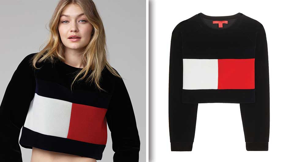 gigi hadid s cropped tommy hilfiger sweater is only. Black Bedroom Furniture Sets. Home Design Ideas