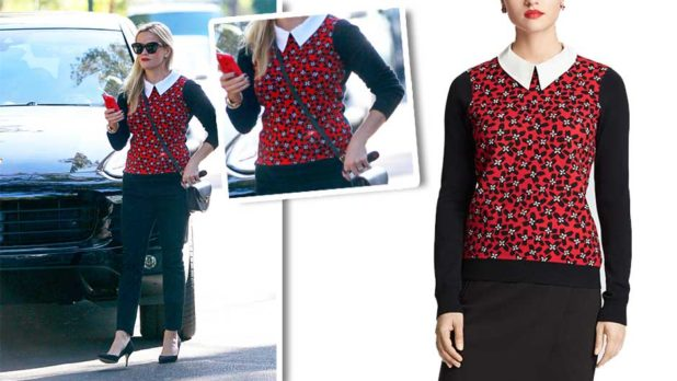 Reese Witherspoon's Printed Red Sweater Is Actually Perfect For A Holiday Party