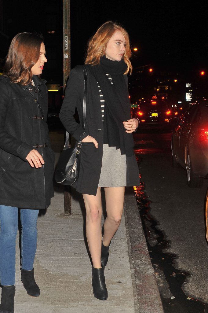 11/21/15 Emma Stone steps in a mini skirt steps out with a girlfriend in NYC as they catch a cab on Saturday night, November 22nd, 2015. Non Exclusive / Luis Yllanes / Splash News Pictured: Emma Stone Ref: SPL1180747 211115 Picture by: Luis Yllanes / Splash News Splash News and Pictures Los Angeles: 310-821-2666 New York: 212-619-2666 London: 870-934-2666 photodesk@splashnews.com
