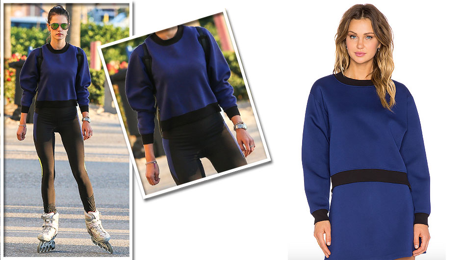 Here's How To Make Alessandra Ambrosio's Blue Sweatshirt Work Appropriate