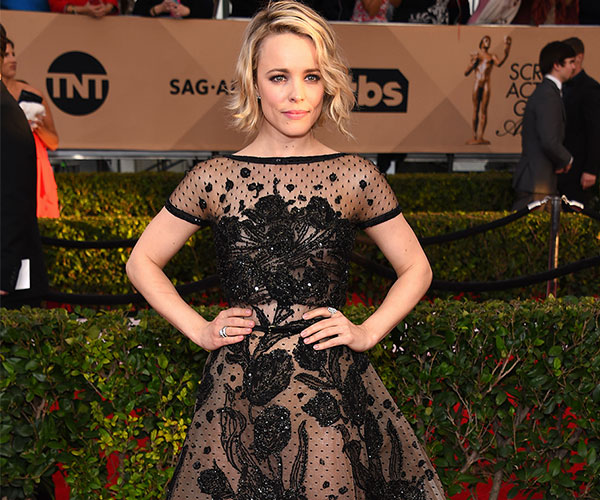 Rachel McAdams in This black-and-nude beaded gown