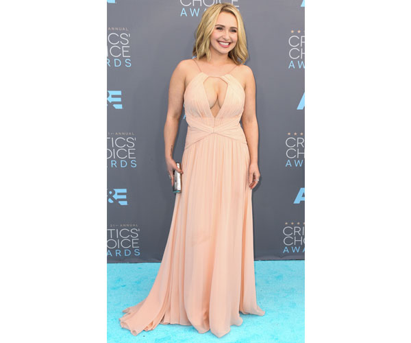 Hayden Panettiere peach-colored Maria Lucia Hohan dress